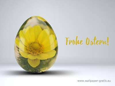 Frohe Ostern! - Osterei mit Blume