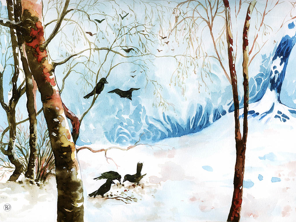 v gel fressen im winterwald winterm rchen hintergrundbilder kostenlos. Black Bedroom Furniture Sets. Home Design Ideas